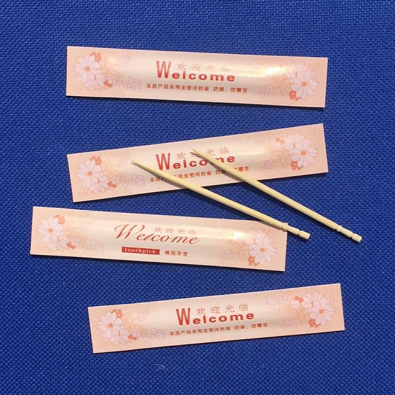 一次性牙签独立包装便携式单尖竹牙签单头小包酒店家用2支装